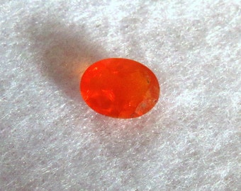 Mexican Fire Opal ~ 8X6 mm Faceted Oval Gemstone ~ Natural Stone with Brilliant Orange Fire
