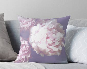 Peony pillow, purple pillow, floral decor, purple cushion, gift for her, Mother's day gift, purple bedding, home decor, purple decor