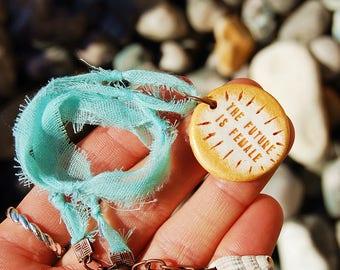 The Future Is Female Necklace - Custom Feminist Pendant - Boho Style Freespirit Hippie Jewelry - Artisan Handcrafted Custom Engraved Quote