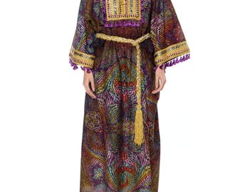1960s Purple And Gold Kaftan With Tassles Size: Free
