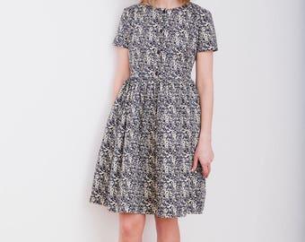 Cotton Poplin Dress - Dark Navy Dress - Women Dress - Vintage Floral Dress - Handmade by OFFON