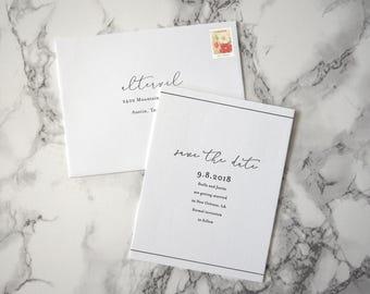 FLAT SAMPLE | Stella Save the Date | Minimalist Invitation | Simple Invitation | Black and white invitation | Clean Invitation