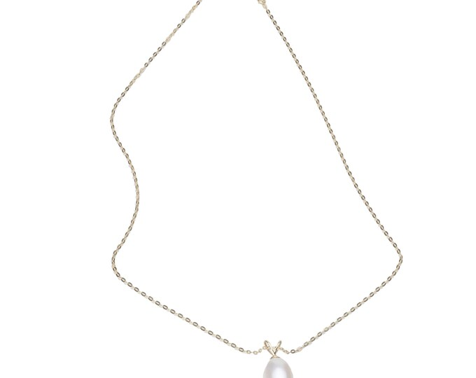 Necklace, 14 kt yellow gold freshwater cultured pearl, white.