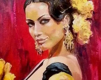 Custom portrait original oil painting portrait, original female portrait on canvas, woman figure, wall art, home decoration, gift for her