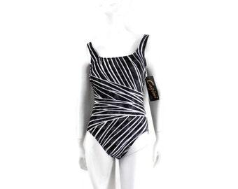 NOS Vintage Swimsuit by Cazimi 1 pc Zebra Stripes Tank Style Bathing Suit Vintage Swimwear Old Store Dead Stock sz 10 #165