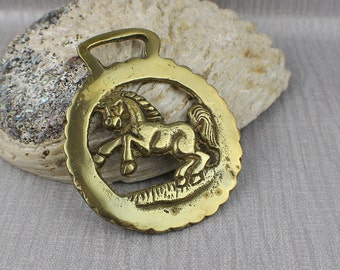 Small Round Prancing Rearing Horse Side Profile View Horse Brass Hanging Ornament