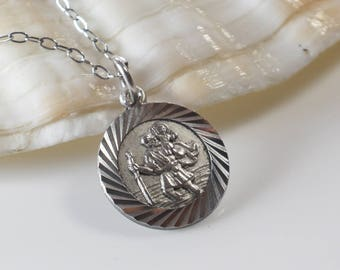 St. Christopher Small Round Silver Pendant Raised Details on Silver Tone Chain Necklace
