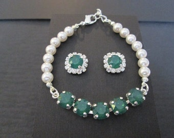 NEW Pearl and Palace Green Opal Swarovski Jewelry Set/Green Opal and White Pearl Bridesmaid Jewelry/Palace Green Swarovski Earrings