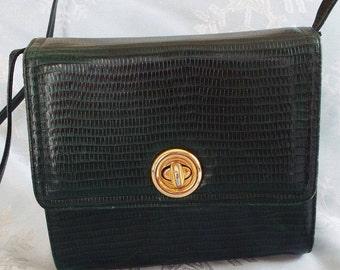Vintage Handbag Purse, Dark Green, Snakeskin Texture, Structured Purse