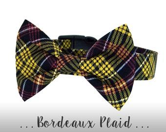 Black Plaid Bow Tie Dog Collar; Gold, Burgundy  Bow Tie Dog Collar: Bordeaux Plaid
