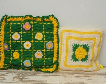 PAIR Vintage Crocheted Pillows