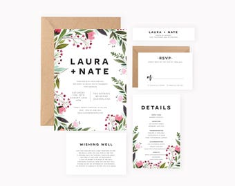 Save the Date Minimal - Customisable - Spring Wedding Invitation Rustic Floral Custom Personalised Kraft Simple Elegant