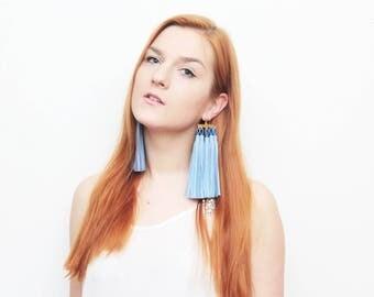 Oversized tassel earrings. Natural leather tassel earrings. Statement earrings. Tassel jewelry. Long tassels. Fringe earrings. /MOVEMENT