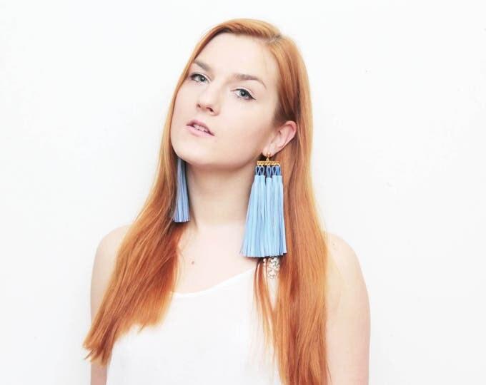 MOVEMENT / Tassel earrings-oversized earrings-leather tassels-metal statement earrings-blue earrings-ethnical tribal earrings-Ready to Ship