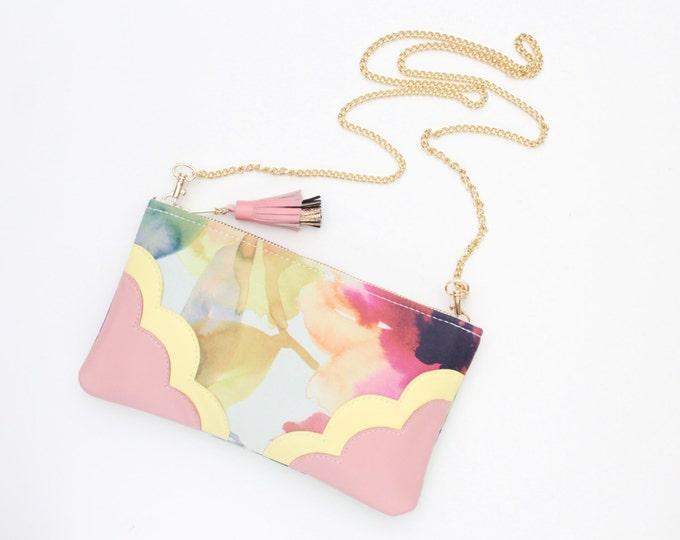 Flower shoulder bag. Natural leather purse. Statement purse. Clutch bag. Wedding bag. Bridesmaid clutch. Floral bag. Leather bag. /MIMI 4