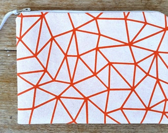 Geo-triangle pouch - white on bright orange - screen printed and handmade