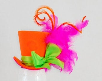 Neon Mini Top Hat, Burlesque hat, Bachelorette hat, Steampunk hat, Fascinator, Alice in Wonderland hat,Mad Hatter hat,Tea Party, Derby hat