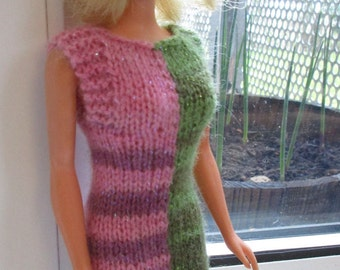 Barbie clothes - two-colour pink and bright green sparkly dress