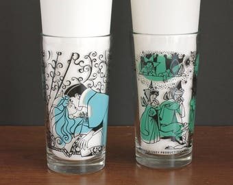 1959 Walt Disney Sleeping Beauty Collectible Glasses - Numbers 8 and 5 - Good Fairies, Witches, Prince, Sleeping Beauty Drinking Glasses