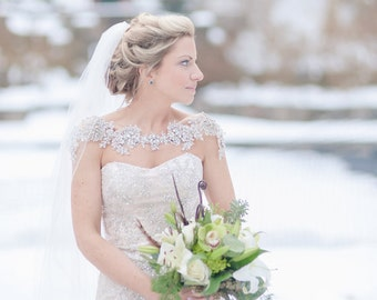 Crystal Bridal Bolero, Bridal Shoulder Necklace, Bridal Statement Jewelry, Style Grace