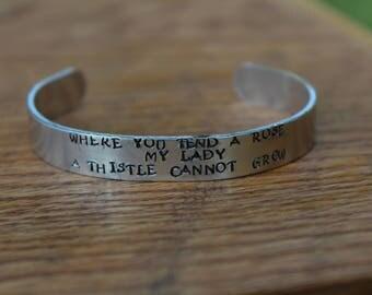 "The Secret Garden - Where you tend a rose..."" Metal Stamped Literary Quote Cuff Bracelet - Frances Hodgson Burnett"