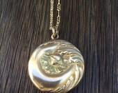 Antique Art Nouveau Poppy Locket Necklace, SKM & Company, Antique Poppy Postcard Image