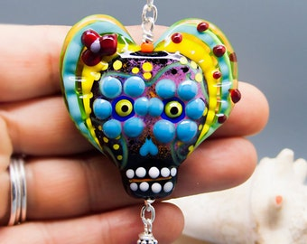 Michou Pascale Anderson - Day of Dead, Lampwork , Dios de los Muertos, Onyx precious stones, Sterling Silver, Toho glass seed beads