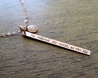 SALE Rose Gold Necklace, Pave Diamond, Inspirational Quote, She Believed She Could So She Did Necklace, Graduation Gift, Motivational Neckla