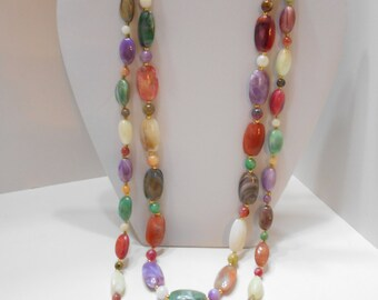"""Vintage 25"""" & 29"""" Matching Lucite Beaded Necklaces (6643)"""