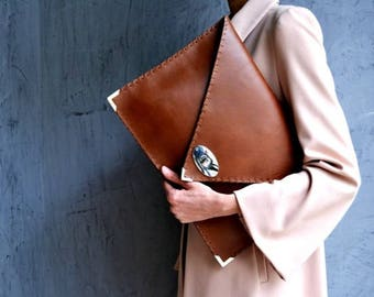 Brown leather clutch / Leather laptop case / Seal brown leather bag / Large leather clutch / Women business bag / Leather file folder