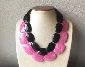 Pink & Black Necklace, multi strand jewelry, big beaded chunky statement necklace, pink necklace, bridesmaid necklace, black necklace