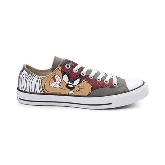 Converse Classic Retro Cartoon Looney Tune Taz Devil Olive Gray Custom Low Top  w/ Swarovski Crystal Chuck Taylor Kick All Star Sneaker Shoe