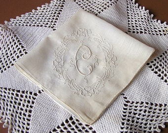 Vintage Monogram C Handkerchief, White on White, Hand Made in Madeira Portugal, Madeira Embroidery Hanky, unused w/ original sticker