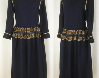 Vtg 70s ~CHLOE'~ Navy Blue Wool Embroidered LS Cocktail Midi Dress Couture Quality  44