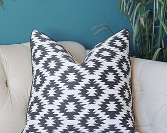 Black and Off White Pillow Cover - Geometric Throw - Modern Black Aztec Pillow - Black Home Decor - Piping Optional