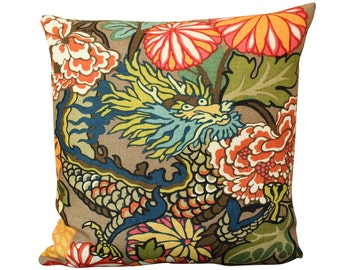 Schumacher Chiang Mai Dragon Pillow Cover in Mocha - featuring dragons