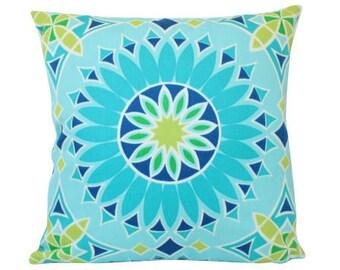 Outdoor Pillow Cover in Schumacher Soleil LA Blue Green