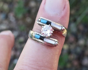 vintage native american silver turquoise and mother of pearl cz ring - Native American Wedding Rings