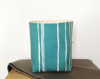 Fabric basket - turquoise storage - living room storage - scandi style décor - hand drawn stripes - fabric storage basket - new home gift
