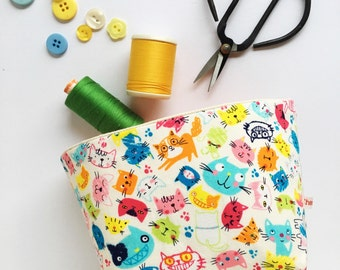 storage bin - cute colourful cats - fabric storage basket - unisex nursery storage - colourful nursery - new baby gift - baby shower