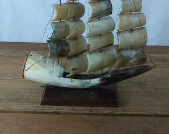 Vintage Steer Horn Ship