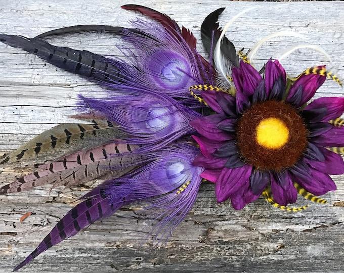 Flower Hair Clip, Feather Hair Clip, Sunflower Hair Clip, Purple Sunflower, Buringman, Festival, Steampunk, Tribal, Wedding, EDC