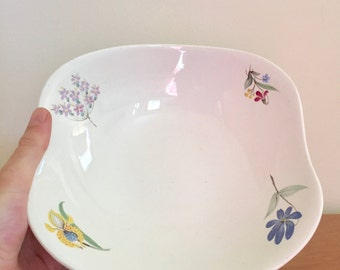 Vintage Eva Zeisel for Hallcraft Square Vegetable Bowl -- Bouquet