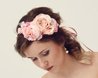Bridal floral crown, Rustic wedding crown, Pink flower crown, Flower headband, couronne fleur,  Flower wreath, Bridal headband,