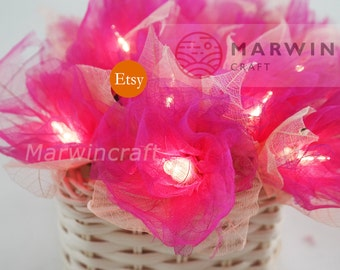 Battery or Plug 20 Magenta Carnation Flower Fairy String Lights Hanging Party Patio Wedding Garland Gift Home Living Bedroom Holiday Decor