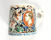 Vintage Edward VIII Coronation mug, Dame Laura Knight design, Lion head handle, Commemorative tankard cup