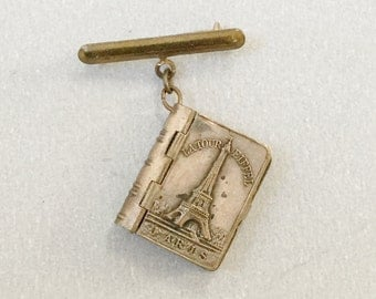 Vintage Paris photo album locket, Fob brooch, Parisienne landmarks photographs, Eiffel Tower