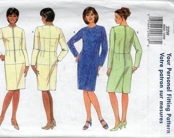 "2001 Butterick 6092 Women's Fitting Shell & Dress Sewing Pattern Size 22W Bust 44"" UNCUT"