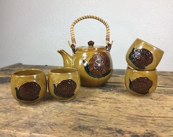 Vintage Japanese Snail Tea Set