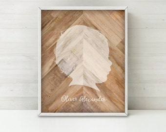 CUSTOM Silhouette Printable Art, Wood Silhouette Portrait, Wood Chevron Art Personalized Gift for Mom Gift for Her, Wood Art Family Portrait